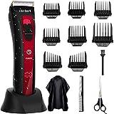 Cortapelos Profesional Hombres Cortadora de cabello LCD Recargable Inalámbrica con Peines 4-24 mm/Derecha/Izquierda Para Usar en el hogar y la Peluquería Color Rojo ELEHOT