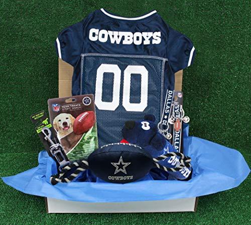 NFL Dallas Cowboys PET GIFT BOX with 2 Licensed DOG TOYS, 1 Logo-engraved NATURAL DOG TREAT, 1 NFL JERSEY, 1 NFL Puppy Training Bells & 1 Car Seatbelt