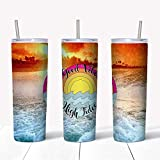 Beach Skinny Tumbler Good Vibes High Tides Sunset Beach Scene, Tumbler For Beach Lover, Size 20 Oz Or 30 Oz, Double Wall Insulated Cups With Lids, With Straw Or No Straw -  2EMZ