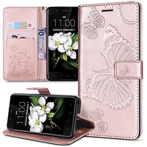 Kompatibel mit Schutzhülle Nokia 5.1 Hülle,Prägung 3D Schmetterling Relief Lanyard Muster PU Lederhülle Flip Hülle Cover Ständer Bookstyle Wallet Tasche Hülle Schutzhülle Handyhülle,Rose Gold