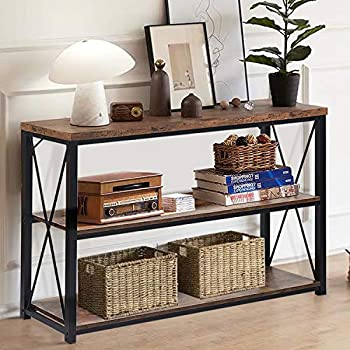NSdirect Rustic Console Table Farmhouse Sofa Table&TV Stand,Industrial 3-Tier Long Hallway/Entryway/Entrance Table with Storage Open Bookshelf for Living Room Bedroom Foyer,Brown Oak