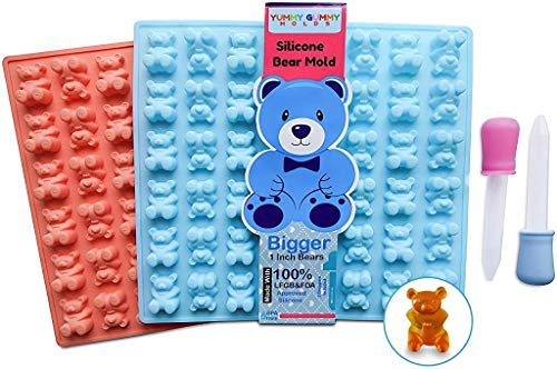 LARGER Bears Silicone Gummy Bear Mold 2 Pack - BPA Free, Unique Design, Perfect for Homemade Gelatin Gummies, Candies, Chocolate, Ice Cubes, Recipe and 2 Bonus Droppers Included