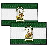ZPUBLI+ 2 Banderas de ANDALUCÍA Parche Bordado Autoadhesivo, Parches termoadhesivos para Todo Tipo de Prendas y artículos Textiles, fácil de Planchar y Colocar, Fabricado en España - Pack 2 Unidades