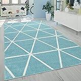 Alfombra Salón Pelo Corto Moderna Diseño Geométrico Motivo Rombos Azul, tamaño:160x220 cm
