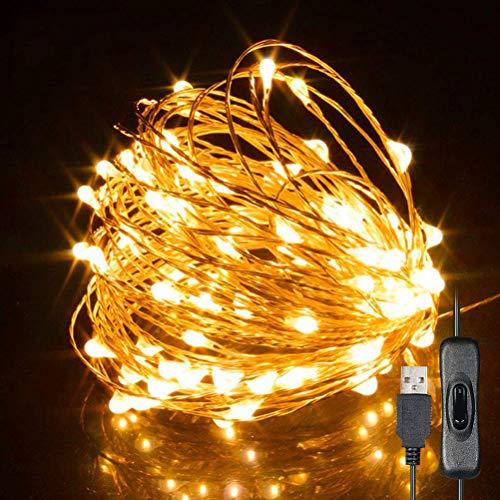 NNGT Cadena de luz de Alambre de Cobre USB, 10m 100 Luces LED de Hadas IP65 Impermeable Cadena de Alambre de Cobre USB Luz de árbol de Navidad Decoración de Fiesta