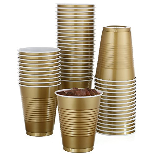 50 Pack - 18 Oz Disposable Gold Plastic Cups Big Party Cup Perfect For Birthday Party
