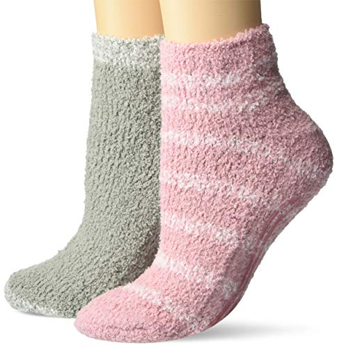 Dr. Scholl's Women's 2 Pack Soothing Spa Low Cut Lavender + Vitamin E Socks with Silicone Treads, Light Pink/White, Shoe Size: 4-10 (DSW22145L2UG001)