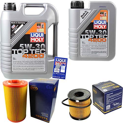 Filter Set Inspektionspaket 6 Liter Liqui Moly Motoröl Top Tec 4200 5W-30 SCT Germany Luftfilter Ölfilter