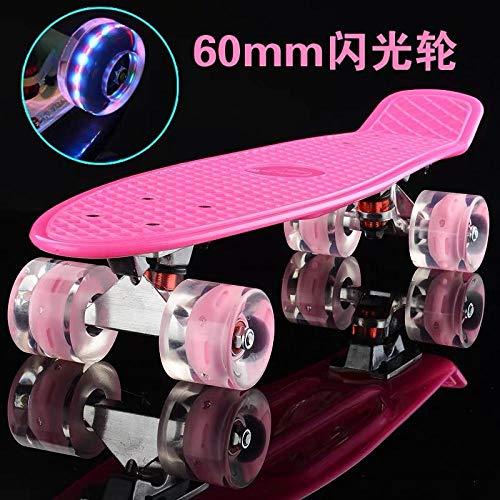 YSCYLY Street Dance Longboard,Banana Board Fish Board With Flash Wheels,Complete Premium Pro Cruiser Deck