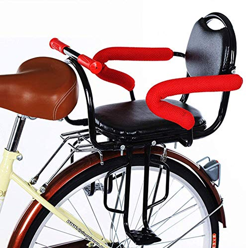 Nurth Bicycle Baby Kids Rear Seat with Cushion & Back Rest Foot Pedals/Armrest, Detachable Fence Child Bike Back Seat Safety Carrier Seat Saddle Cushion