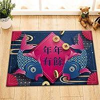 Assanu 中国の旧正月、複数の単語、防水カーペット、バスルーム、バスルーム、装飾、部屋に適しています、掃除が簡単、絶妙なカーペット、フランネル素材40x60cm