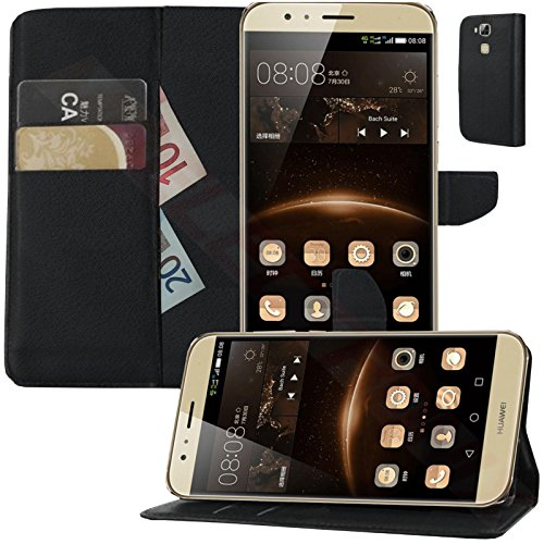 MOELECTRONIX Hülle passend für Huawei G8 / GX8 | Buch Tasche mit Karten & Notizfach | Flip Schutz Hülle Klapp Schutzhülle SCHWARZ