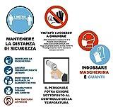 Lot de 5 autocollants pour vitrine d'urgence sanitaire – Signalisation et sécurité – Réglages – Respecte la distance d'au moins 1 mètre – Précisions
