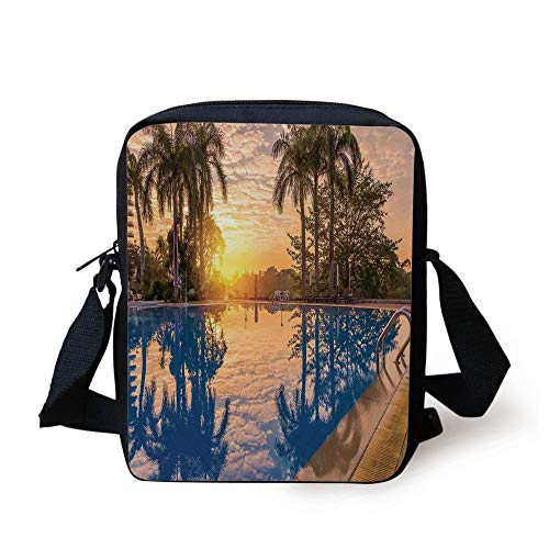 House Decor,Luxury Swimming Pool Reflexion in Morning Sunrise Modern Nature Cloudscape Sunshine, Print Kids Crossbody Messenger Bag Purse