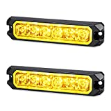 AT-HAIHAN 2-Pack 12V 24V Waterproof Surface Mount and Grille Strobe LED Amber Emergency Lights for Trucks Snow Plows Cars Vehicles Safety Flashing