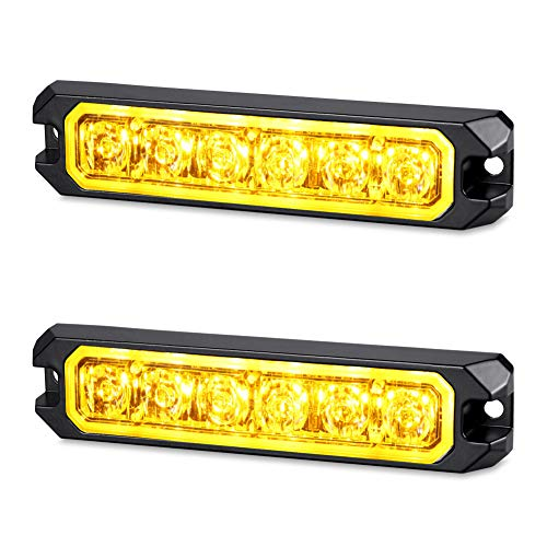 AT-HAIHAN 2-Pack 12V 24V Waterproof Surface Mount and Grille Flashing LED Amber Strobe Lights for Trucks Snow Plows Hazard Warning Vehicles Cars SUV