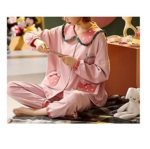 Voor- en najaar pyjama's, dames katoenen lange mouwen, dun tweedelig pak, aardbeien schattig thuisservice