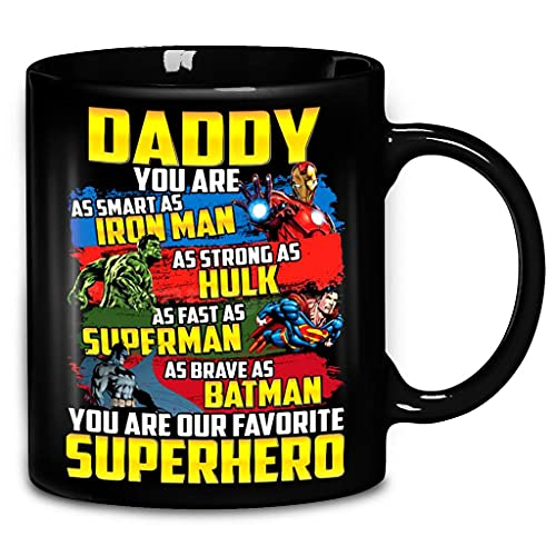N\A Papá, Eres Tan Inteligente como Ironman Tan Fuerte como Hulk Tan rápido como Superman Tan Valiente como Batman superhéroe Taza de café de cerámica y Tazas de té