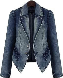 Women's Denim Blazer Jacket Notched Lapel Short Jean Cardigans