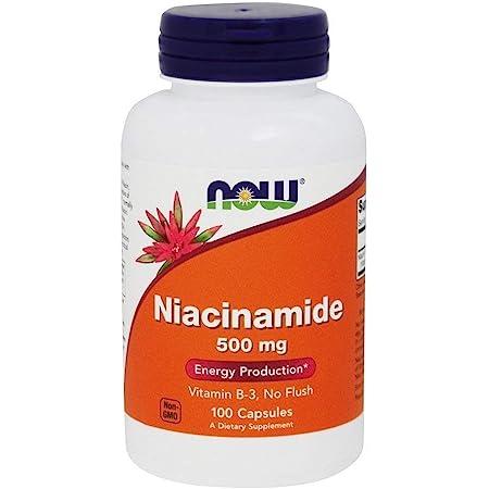 Now Foods Niacinamide 500mg, Vitamin B-3 Capsules, 100-Count