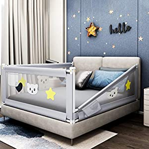 Fascol Barandillas de la Cama Infantil de Acero Carbono, Ajustable para Niños de 0 a 7 años, Barrera de Seguridad Anti-caída para Bebés Portátil y Estable (150 X 93 cm)