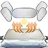 FGen Parasol De Coche, 6 Pcs Parasol Coche Bebec,Parasol Parabrisas Coche Protector Solar,para Delantera Parasol de Coche Plegable Reduce Calor Aislado y Radiación UV, Fácil Instalación