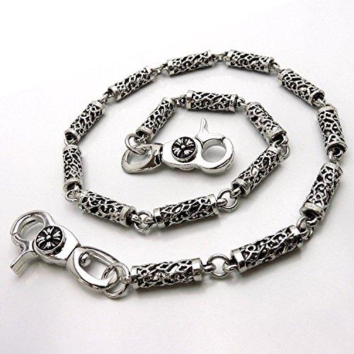 透かし柄 ウォレットチェーン メンズ アクセサリー 財布に ズボンに 銀彫刻風 w42-va3
