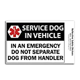 CoolHubcaps Service Dog in Vehicle Reflective Decal - Reflective Safety Sticker for Car Bumpers & Windows - Emergency Medical Alert - Weatherproof & UV Resistant - 3.1 in x 4.45 in (1 Decal)