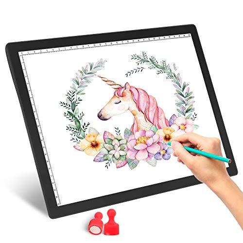 JOEAIS Wiederaufladbar LED A4 Leuchttisch Grafiktablett Light Pad Digitales Tablet Copyboard mit 5 stufiger, dimmbarer Helligkeit zum Nachzeichnen von Zeichnungen (Schwarz)