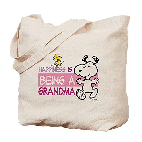 CafePress Happiness Is Grandma Natural Canvas Tote Bag, Reusable Shopping Bag