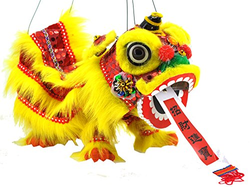 Mandala Crafts Hand String Puppet with Rod, Chinese Marionette Lion Toy, Yellow