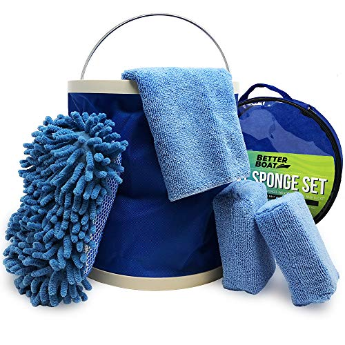 Boat Cleaner Microfiber Sponge Bucket and Microfiber Wash Cloths | Interior Exterior Seats and Fiberglass Hull Cleaning Kit Washing Sponges