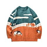Youth Men Cows Vintage Winter Sweaters Pullover Mens O-Neck Korean Fashions Sweater Women Casual Harajuku Clothes Orange M