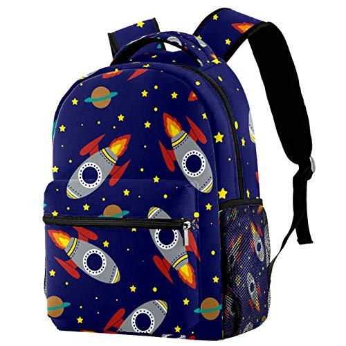 Mochila para Escuela Espacio de Cohetes Mochila para Adolescentes Mochila Escolar Impresión Bolsa para la Escuela Backpack para Escuela Viajes Deportes 29.4x20x40cm