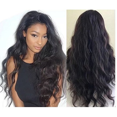 New Fashion Sexy Water Wave Brazilian Perruque Cheveux Humain Full Lace Wigs Loose Body Wave Sans Colle 150% Density Lace Wigs with Baby Hair (10 inch,1B)