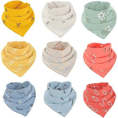 Cokomono Baby Lätzchen Dreieckstuch mit 2 Verstellbare Druckknöpfe 9 Stück Baumwolle Halstücher für Jungen Mädchen Kleinkinder