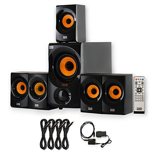 Acoustic Audio by Goldwood AA5170 Home 5.1 Bluetooth Speaker System with Optical Input and 4 Extension Cables, Black