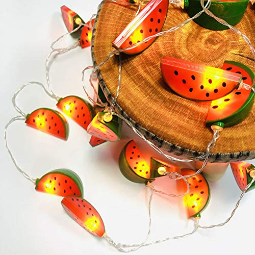LED Watermelon Decoration Flashing Light String Creative Small Lantern for Girl's Room Window Battery Powered Fairy Hanging Lights (Watermelon, 6m/40LED)