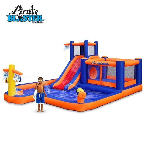 Blast Zone Pirate Blaster - Inflatable Water Park with Blower - Large - Slide - Climbing Wall - Bounce House - Tunnel