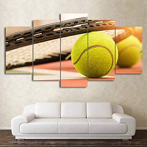 HOMEDCR Tapete Wandbild Hd Wohnzimmer Bild 5 Panel Sport Tennis Malerei Wandkunst Modulare Poster Dekoration Druck Leinwand