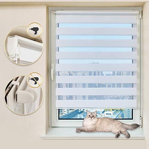 Atlaz Doppelrollo Duo Rollo Klemmfix ohne Bohren 45x150cm (BxH) Weiss Jalousie Raffrollo Faltrollo Sonnenschutzrollo Easyfix mit Klemmträger für Fenster und Tür