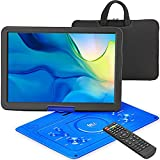 """17.9"""" Portable DVD Player with 15.6"""" Large HD Internal Swivel Screen with 5 Hours Rechargeable Battery, Video Player with AV Cable Sync TV, Region-Free DVD Player with Car Charger"""