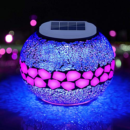 Pandawill Mosaic Solar Glass Garden Decoration Light, Rechargeable Color-Changing Solar Table Lamp, Waterproof LED Night Light for Garden, Party, Bedroom, Patio, Indoor/Outdoor Decoration, Ideal Gift