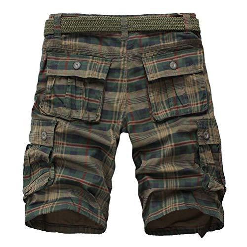 IDEALSANXUN Men's Plaid Cargo Shorts Multi-Pockets Short Cargo Pants (42, Army Green)