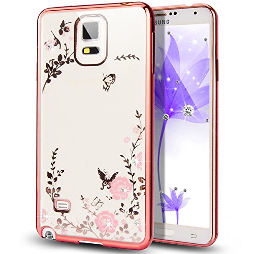 Galaxy Note 4 Case,NSSTAR Pink Butterfly Floral Flower Bling Crystal...