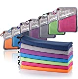 Syourself Microfiber Sports & Travel Towel with Travel Bag & Carabiner, Grey, S: 32'x16' 2pack