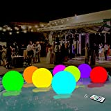AUBESTKER Pool Toys 13 Colors Glow Ball 16'' Inflatable LED Light Up Beach Ball with Remote, Great for Beach Pool Party Outdoor Games and Decorations(1PCS)