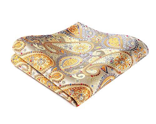 HISDERN Herren Prufen Paisley Blumenpunkt Gestreift Hochzeitsfeier Einstecktuch Taschentuch Gelb/Grau