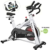 SNODE Indoor Cycling Spin Bike Trainer 40lb flywheel - Stationary Belt Drive Exercise Bike with High Weight Capacity, Tablet Holder, LCD Monitor for Professional Cardio Workout(Model: 8729 2019 New)