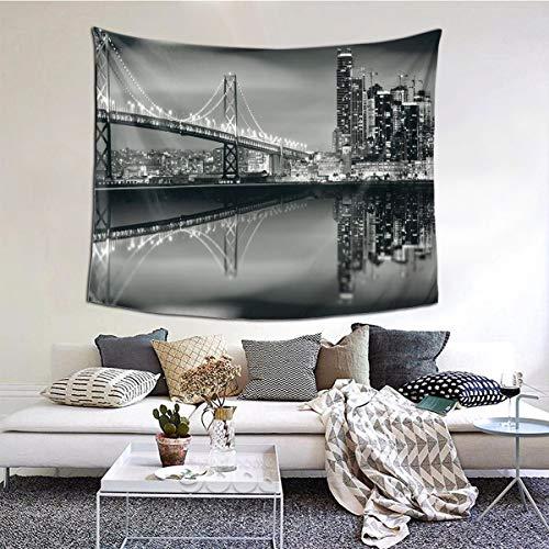 LASINSU Tapiz de Regalo,Vista de la metrópoli del Puente de la bahía de San Francisco con impresión de Rascacielos,Tapiz Bohemio diseño para Colgar en la Pared,Sala de Estar Dormitorio